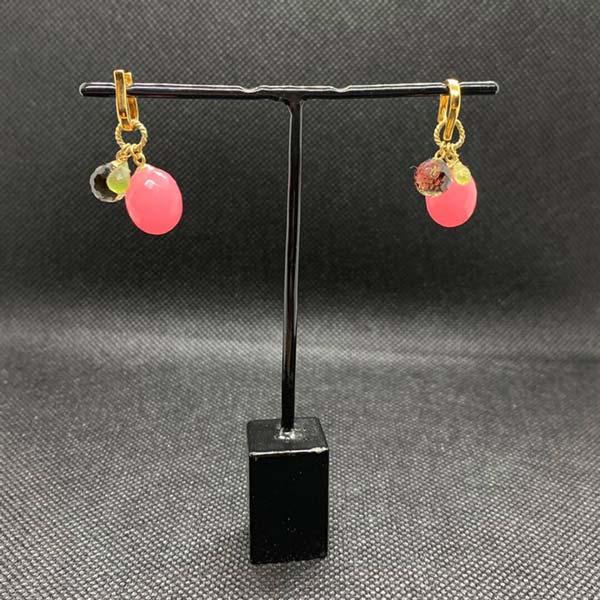 Ohrringe 925/- Silber vergoldet Jadepapel pink fac, Peridotpamel fac und Bergkristallkugel fac.