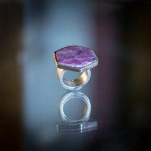 Ring 925/- Silber mit Rubinscheibe W 59