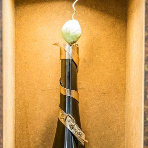 Weinkorken 925/- Silber mit Kieselstein mit Reben und Trauben und Blätter verziert